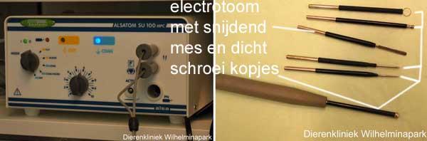 De thermocauter met het electrische mes.