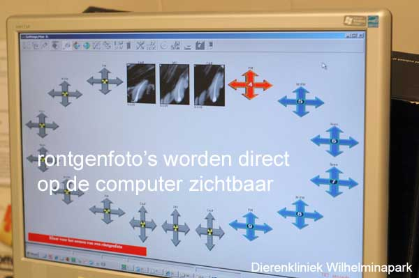 De rontgenfoto's komen gelijk op onze computer in beeld